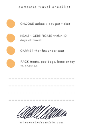 travel checklist flying with dog
